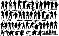A variety of armed soldiers silhouettes vector materials