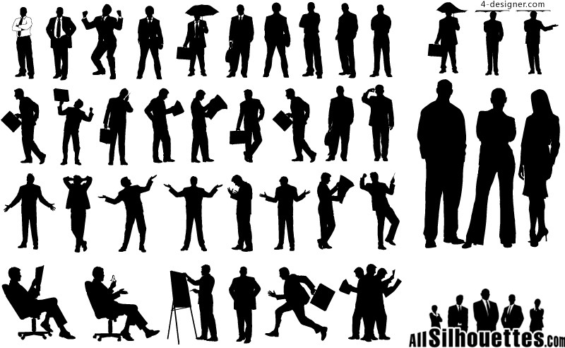A variety of business people silhouettes vector materials