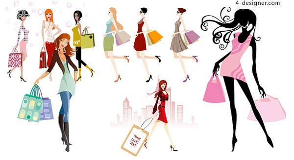 f03330268623 A variety of fashion shopping girl vector material Download
