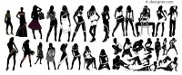A variety of fashion women dressed in different costumes silhouette vector material