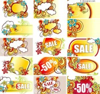 A variety of fashionable discount sales tag vector materials