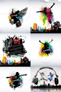 A variety of fashionable music poster vector materials