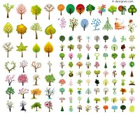 A variety of fine abstract trees vector materials