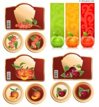 A variety of fine fruit label tag vector materials