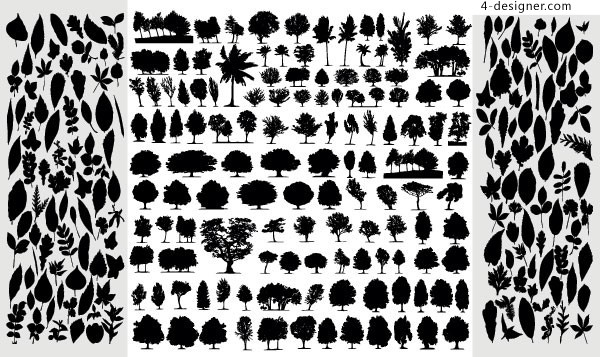 A variety of trees and leaves silhouette vector materials