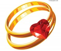 A very beautiful heart shaped diamond ring vector material