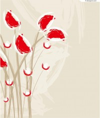 Abstract decorative painting flowers vector material