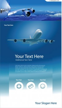 Aircraft and sky vector material