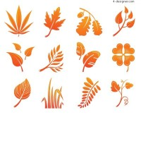 All kinds of beautiful golden yellow leaves silhouette vector materials