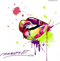 Avant garde fashionable color mouth vector material