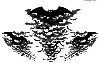 Bats silhouettes vector material
