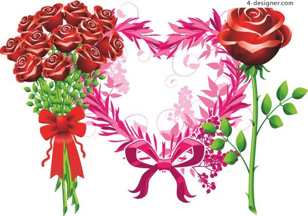 Beautiful bouquet of roses vector material