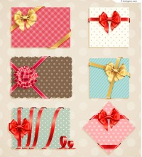 Beautiful bow decorated card vector material