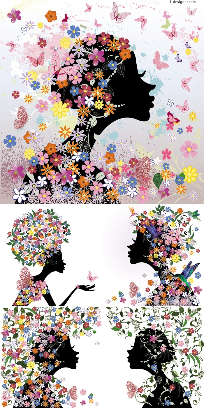 Beautiful butterfly girl vector material