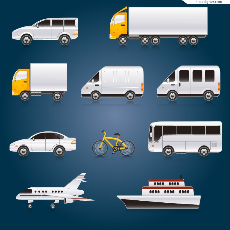 Beautiful cartoon transport vector material