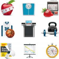Beautiful fitness equipment icon vector material