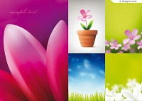 Beautiful flowers and blue sky vector material