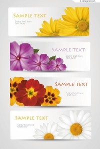 Beautiful flowers banner vector material