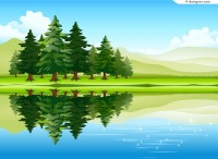 Beautiful forest lake scenery vector material