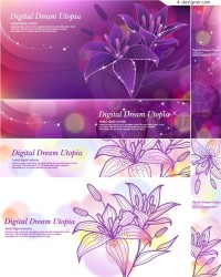 Beautiful lily banner vector material