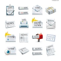 Beautiful newspaper icon vector material