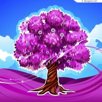 Beautiful pink tree vector material