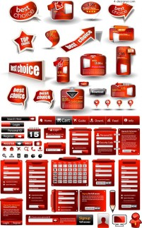 Beautiful red web elements vector material