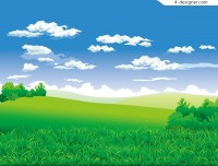 Beautiful scenery on the outskirts of a realistic style vector material