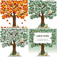 Beautiful trees with birds vector material