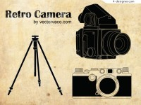 Beautifully retro camera vector material