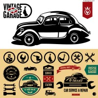 Beautifully retro car stickers vector material