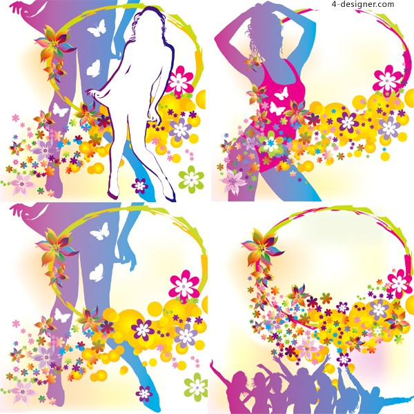 Beauty silhouette and fashion lace vector material