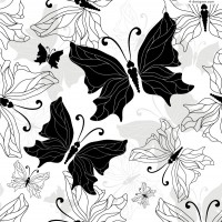 Black and white hand painted butterfly vector material