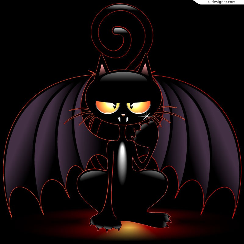 Black cat with wings vector material