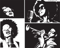Black female singers black and white illustrator vector material