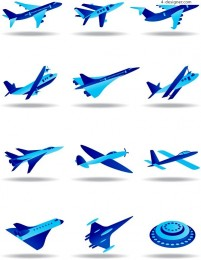 Blue aircraft model vector material