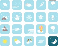 Blue cartoon weather icon vector material