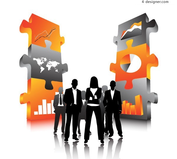Business figures silhouette and puzzles vector material