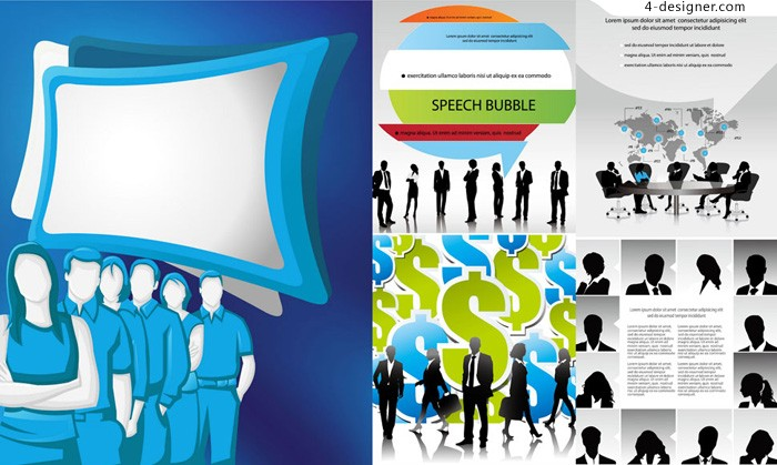 Business figures silhouette vector material