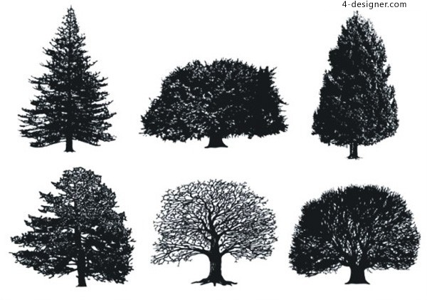 CDR format fine sketches of trees vector material
