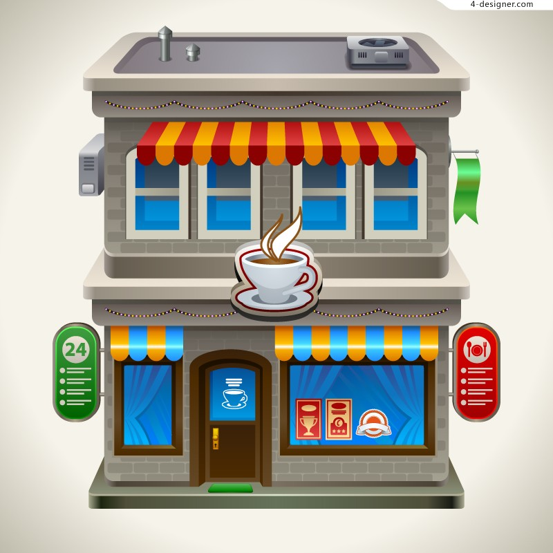 Cartoon Cafe vector material