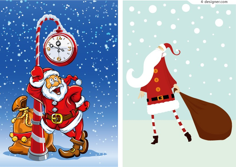 Cartoon Santa Claus design vector material
