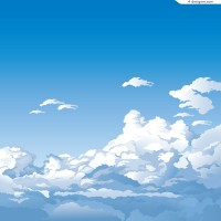Cartoon altitude clouds scenery vector material