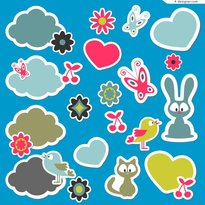 Cartoon animal sticker design vector material