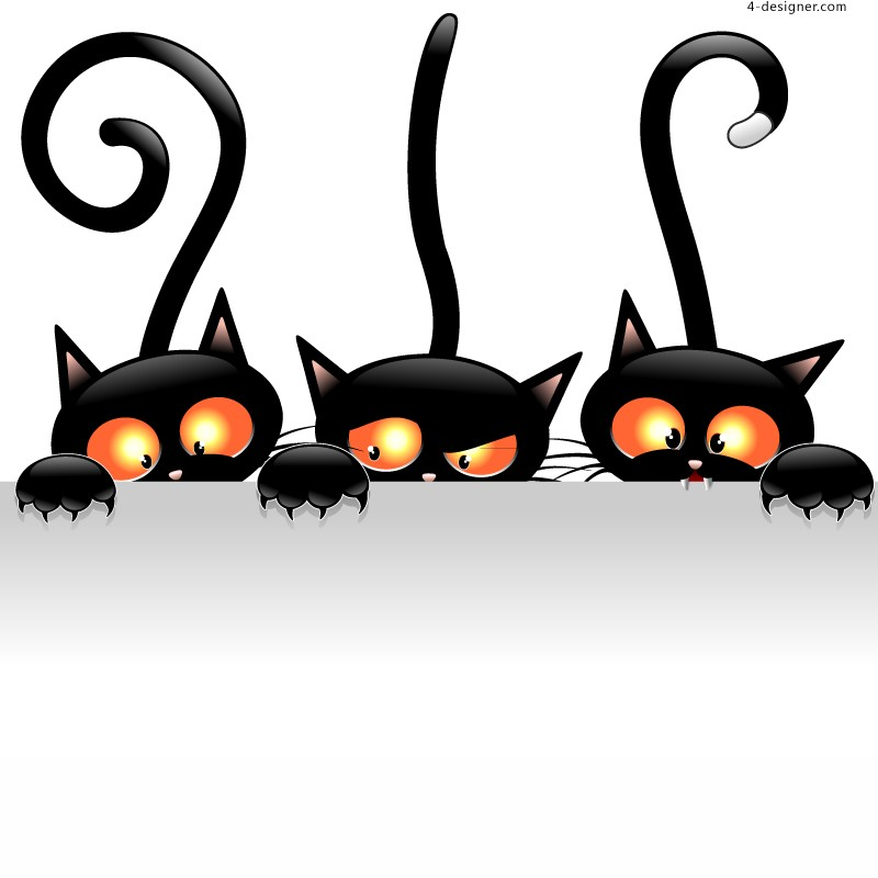 Cartoon black cat background vector material