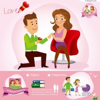 Cartoon couple information figure vector material