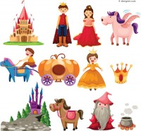 Cartoon fairy tale characters vector material