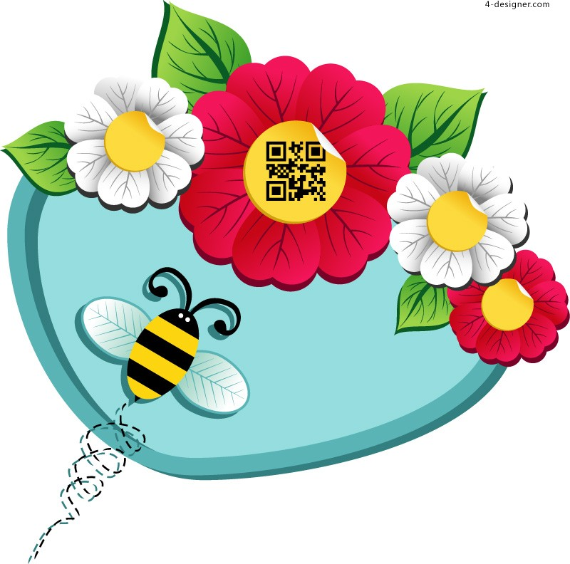Cartoon flowers and bees vector material