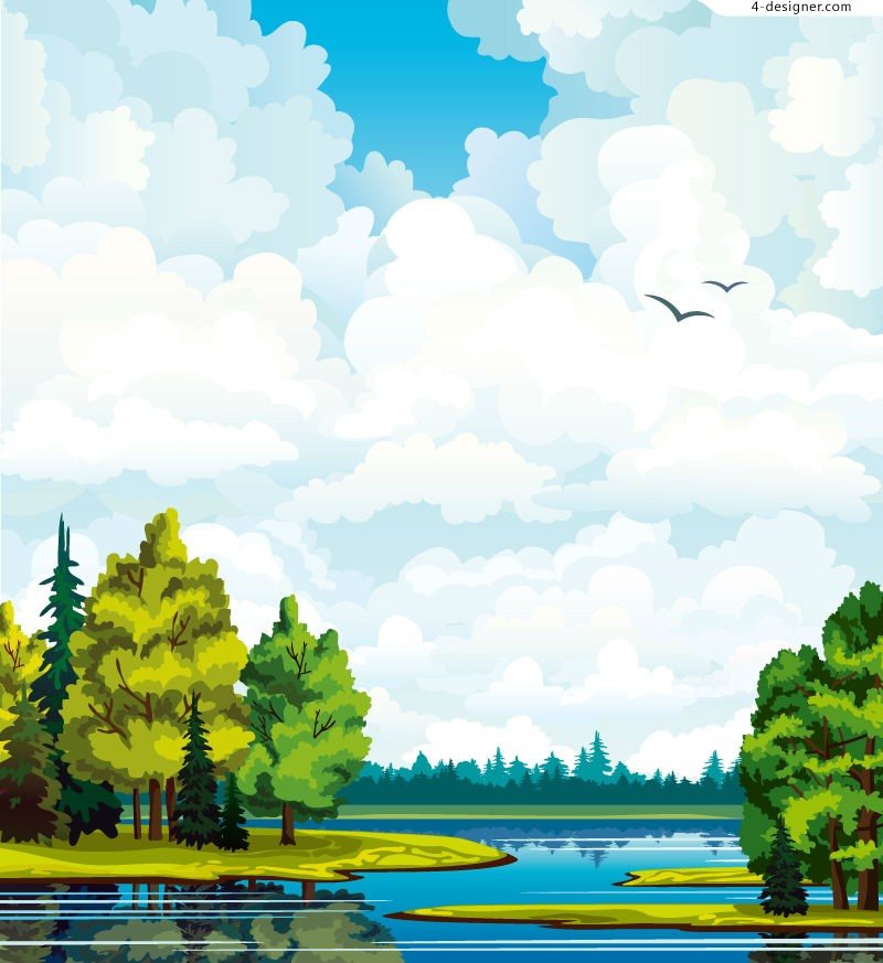 Cartoon forest lake scenery vector material