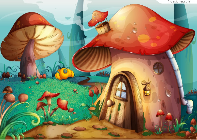 Cartoon forest mushroom house vector material